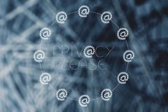 Privacy policy text surrounded by @ symbols made of locks Stock Image