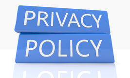 Privacy Policy. 3d render blue box with text Privacy Policy on it on white background with reflection Royalty Free Stock Photos