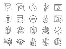Privacy policy icon set. Included the icons as security information, GDPR, data protection, shield, cookies policy, compliant, per. Vector and illustration Royalty Free Stock Photos