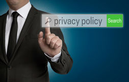Privacy Policy internet browser is operated by businessman Stock Photography