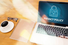 PRIVACY POLICY Private Security Protection,Businessman with prot. Ective gesture and text privacy Royalty Free Stock Photos