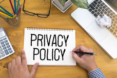 PRIVACY POLICY Private Security Protection,Businessman with protective gesture and text privacy royalty free stock photography