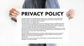 PRIVACY POLICY Private Security Protection,Businessman with prot. Ective gesture and text privacy Royalty Free Stock Images