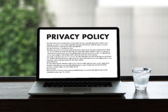 PRIVACY POLICY Private Security Protection,Businessman with prot. Ective gesture and text privacy Royalty Free Stock Photo