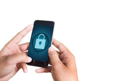PRIVACY POLICY   Private Security Protection). Person holding a smartphone on blurred cityscape background Royalty Free Stock Images