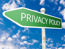 Privacy Policy. Street sign illustration in front of blue sky with clouds Royalty Free Stock Photography