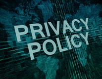 Privacy Policy. Text concept on green digital world map background Stock Images