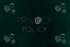 Privacy policy text with @ symbol made of locks and business obj Royalty Free Stock Images