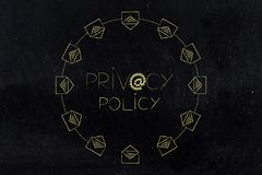 Privacy policy text with @ symbol made of locks and wih emal ico Royalty Free Stock Images