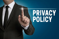 Privacy Policy touchscreen is operated by businessman Royalty Free Stock Photos
