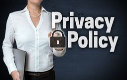 Privacy Policy touchscreen is shown by businesswoman