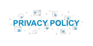 Privacy policy vector banner. Word with line icon. Vector background royalty free illustration