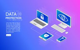 Privacy protection antivirus hack. Data protection isometric concept. Internet security 3d isometry illustration. Can use for web site and banner stock illustration