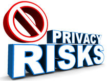 Privacy risks. With a ban sign, white background, concept of online privacy protection challenges Stock Image