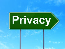 Privacy on road sign background Stock Images