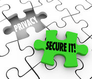 Privacy Secure It Words Puzzle Piece Gap Safety Private Informat Stock Photo