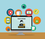 Privacy and security system graphic icons Stock Photography