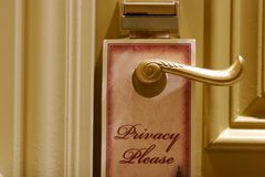 Privacy sign on a hotel door Stock Photo