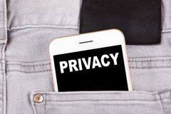 Privacy. Smartphone in jeans pocket. Technology business analysis and Access Identification Password background Stock Photos