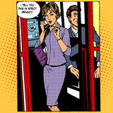Privacy surveillance phone conversation woman. Privacy surveillance the phone conversation the woman. Retro style pop art royalty free illustration