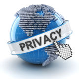 Privacy symbol with digital globe, 3d render Royalty Free Stock Photography