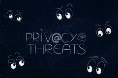 Privacy threats text surrounded by eyes staring or spying Royalty Free Stock Photo