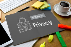 Privacy  User Password Register Log In , Privacy settings , se Royalty Free Stock Image