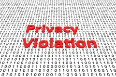 Privacy violation. In the form of binary code, 3D illustration Stock Photos