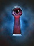 Privacy violation. Human eye spying through a keyhole. Digital illustration Stock Images