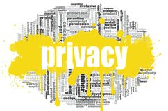 Privacy word cloud. Concept on white background, 3d rendering Stock Photography