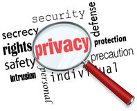 Privacy Word Magnifying Glass Online Security Identity Theft. A magnifying glass hovering over the word Privacy and other related terms such as secrety Stock Image