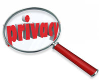 Privacy Word Magnifying Glass Private Sensitive Information Prot Stock Images