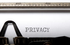 Privacy. Written on a vintage typewriter royalty free stock image