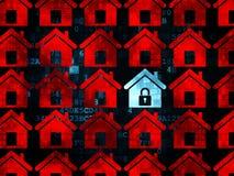 Privacyconcept: blauw huispictogram op Digitaal Royalty-vrije Stock Foto's