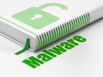 Privacyconcept: boek Geopend Hangslot, Malware op witte achtergrond Stock Afbeeldingen