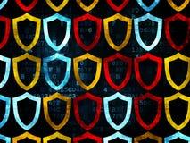 Privacyconcept: De contouren aangegeven van Schildpictogrammen op Digitaal Royalty-vrije Stock Foto