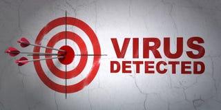 Privacyconcept: doel en Virus op muurachtergrond die wordt ontdekt Stock Foto's
