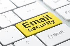 Privacyconcept: E-mailveiligheid op de achtergrond van het computertoetsenbord Royalty-vrije Stock Fotografie
