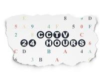 Privacyconcept: Kabeltelevisie 24 uren op Gescheurd Document Royalty-vrije Stock Afbeelding