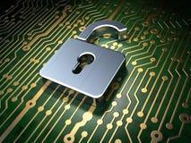 Privacyconcept: kringsraad met Geopend Hangslot Stock Afbeelding