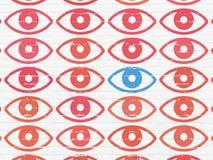 Privacyconcept: oogpictogram op muurachtergrond Royalty-vrije Stock Foto's