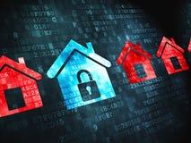 Privacyconcept: op digitale achtergrond Royalty-vrije Stock Afbeeldingen