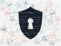 Privacyconcept: Schild met Sleutelgat op muur Stock Fotografie