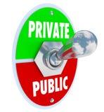 Privado contra palavras públicas firme a privacidade do interruptor ou Informat compartilhado Foto de Stock Royalty Free