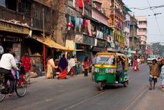 Privat auto rickshawthree-weelertuk-tuk taxar Royaltyfri Bild