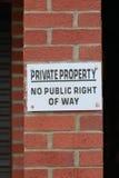 Privat egenskap - ingen offentlig rätt av vägtecknet arkivbild