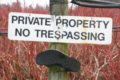Privat egenskap inget inkräkta Arkivbild
