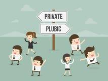 Privat eller offentligt stock illustrationer