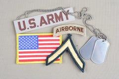 Privat frodig lapp för USA-ARMÉ, luftburen flik, flaggalapp och hundetikett Royaltyfri Foto