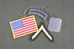 Privat frodig lapp för USA-ARMÉ, luftburen flik, flaggalapp och hundetikett på likformign för olivgrön gräsplan Royaltyfria Bilder
